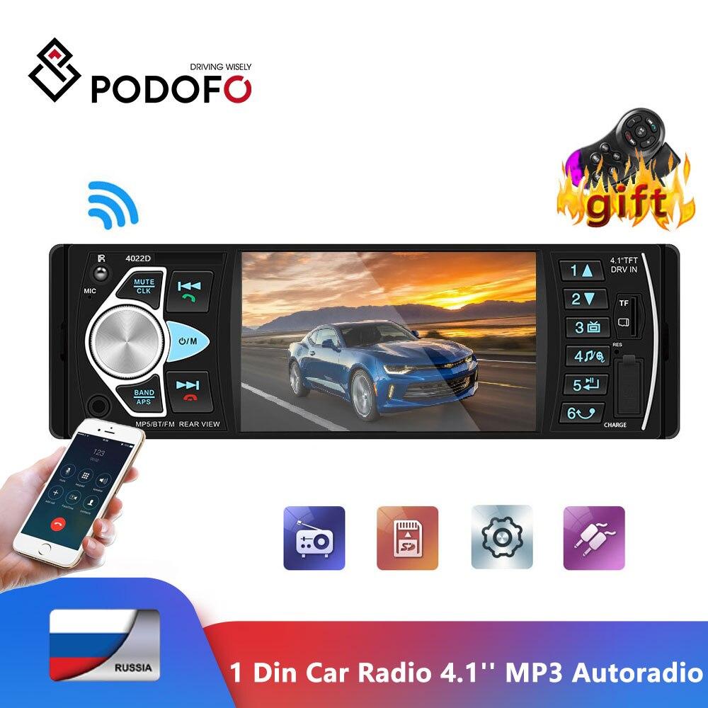 Podofo 1 Din Car Radio 4.1'' Digital Display Bluetooth FM MP3 Autoradio Multimedia Player 1din Audio Radio USB FM Backup Monitor